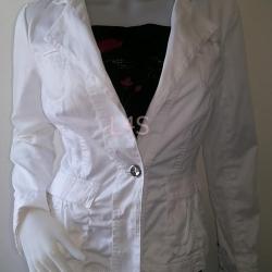 BNjean0014--เสื้อคลุมแจ็ตเก็ต สีขาว แบรนด์เนมWHITE BLACK HOUSE MARKET อก -34-36 นิ้ว