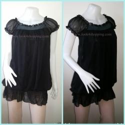 jp2371-เสื้อแฟชั่น ชีฟอง สีดำ อก 30-33 นิ้ว