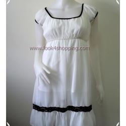 Dress0415--เดรสแฟชั่น ชีฟอง สีขาว YBF2 อก 32-34 นิ้ว