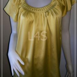 """jp3623-เสื้อแฟชั่น นำเข้า สีเหลืองตอง """"อก free-38 นื่ว"""""""