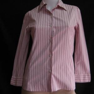 BNJ0328--เสื้อเชิ้ต สีชมพูลายทาง MICHEL KLEIN PARIS อก 32 นิ้ว