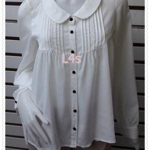 jp5068-เสื้อแฟชั่น นำเข้า สีขาวครีม TRICLOUR อก 35 นิ้ว