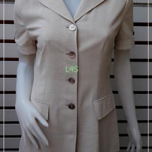 BN4760--เสื้อเชิ้ต ทำงาน สีกากี marie claire paris อก 34 ดึงสุด 35 นิ้ว