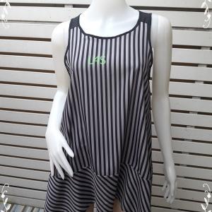 jp4608-เสื้อแฟชั่น แขนกุด สีเทาลายทางดำ อก 36 นิ้ว