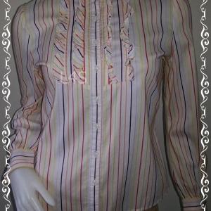 เสื้อแฟชั่นคอจีน สีครีมลายทาง อก 34-35 นิ้ว