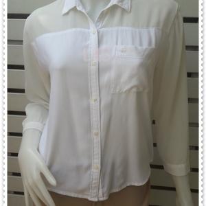 เสื้อเชิ้ต แฟชั่น สีขาว Abercrombie & Fitch อก 38 นิ้ว