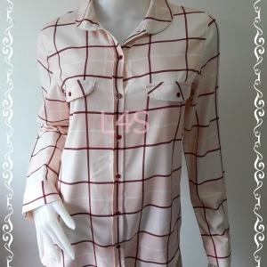 BN4554--เสื้อผ้ามือสอง--เสื้อเชิ้ต ลายตาราง สีครีม ZARA อก 38 นิ้ว