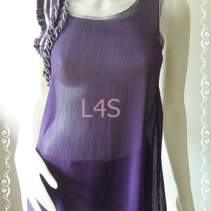jp4507-เสื้อแฟชั่น ชีฟอง สีม่วง อก 32-33 นิ้ว