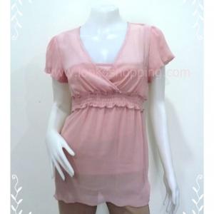 """jp2299-เสื้อแฟชั่น ชีฟอง สีชมพู BCX """"อก 33-36 นิ้ว"""""""
