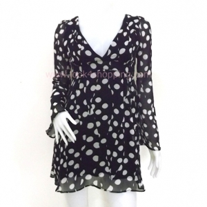 """Dress0045--เดรสสั้น หรือเสื้อตัวยาว สีดำ """"อก32-33 นิ้ว"""""""
