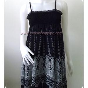 """Dress0407--เดรสแฟชั่น ชีฟอง สายเดี่ยว สีดำ GLOBNL ART """"อก 22-34 นิ้ว """""""