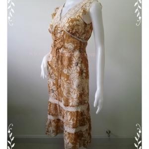 "Dress0655--เดรสแฟชั่น ชีฟอง Brownie bee ""อก 33 นิ้ว"""
