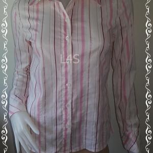 เสื้อเชิ้ต สีชมพูสลับขาว ZEIN อก 34 นิ้ว