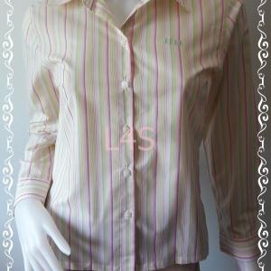 เสื้อเชิ้ต ลายทางสีชมพูเขียวขาว แบรนด์เนม ELLE อก 34 นิ้ว