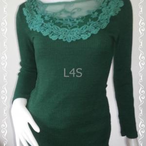 jp4056-เสื้อแฟชั่น นิตติ้งมือสอง สีเขียว อก 30 ยืด 33 นิ้ว