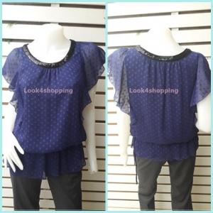 เสื้อชีฟอง มือสอง สีน้ำเงิน ROPI PICNIC อก 36 นิ้ว