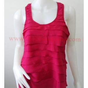 jp2922-เสื้อแฟชั่น สวยๆ สีชมพูแดงบานเย็น อก 35 นิ้ว