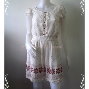 "Dress0602-เดรสชีฟอง มือสอง สีขาว MISCH MASCH ""อก 32 นิ้ว"""
