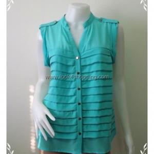 fashion0014--ของใหม่ เสื้อแฟชั่น ชีฟอง นำเข้า สีฟ้า pinkowlapparel อก 40 นิ้ว