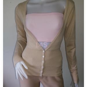 BN4510--เสื้อคลุมนิตติ้ง สีกากี AIIZ CAREER อก 30-34 นิ้ว
