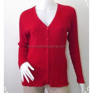 """BNK0216--เสื้อคลุมนิตติ้ง สีแดง นำเข้า """"อก 34-42นิ้ว"""""""
