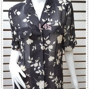 jp4921-เสื้อแฟชั่น ชีฟองโพลี สีดำลายดอกไม้ อก 42 นิ้ว