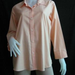 BNJ0315--เสื้อเชิ้ตมือสอง สีส้ม แบรนด์เนม LIZ CLAIBORNE อก 44 นิ้ว