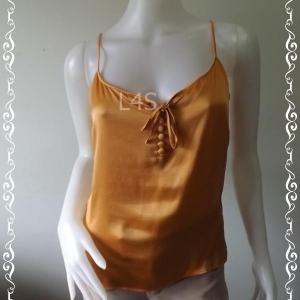 SA0007-เสื้อสายเดี่ยว silk สีส้ม H&M อก 34 นิ้ว