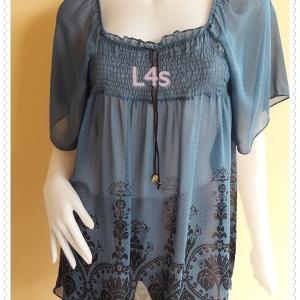 jp5213--เสื้อแฟชั่น งานนำเข้า ชีฟอง สีฟ้าคราม อก 30-35 นิ้ว