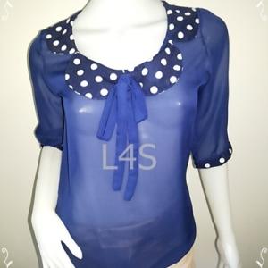 jp3922-เสื้อเแฟชั่น ชีฟอง สีน้ำเงิน อก 33 นิ้ว