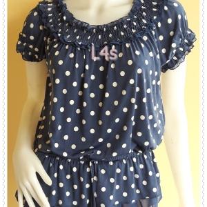 jp5206--เสื้อแฟชั้น นำเข้า สีน้ำเงินลายจุด อก free -38 นิ้ว