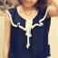 เสื้อผ้าชีฟอง คอแต่งระบายสวย แขนกุด สีน้ำเงิน ผูกโบว์น่ารัก thumbnail 1