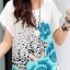 เสื้อแฟชั่น สไตล์เกาหลีเสื้อสีขาว แต่งรูปดอกสีฟ้า ทั้งหน้า-หลัง thumbnail 1