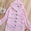 เสื้อคลุม มีฮู้ด สีชมพูอ่อน ตัวยาว แขนยาว พับแขนติดกระดุม thumbnail 3