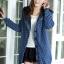 sweater เสื้อกันหนาว สีน้ำเงินเข้ม ลายหัวใจเล็กๆ มีฮู้ด thumbnail 1