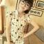 เสื้อคอจีน จับจีบด้านหน้า ลายน่ารัก แขนระบาย โทนสีขาว thumbnail 2