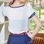 เสื้อแฟชั่นชีฟอง Size L สีขาว คอแต่ง แขนสั้นแต่ง 2 ชั้น กุ้นขอบดำ thumbnail 3
