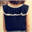 เสื้อผ้าชีฟอง คอแต่งระบายสวย แขนกุด สีน้ำเงิน ผูกโบว์น่ารัก thumbnail 2