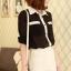 เสื้อเชิ๊ตทำงาน ชีฟอง สีดำ แขนยาวพับได้ติดกระดุม ตัดขอบสีขาว น่ารัก thumbnail 5