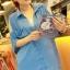เสื้อชีฟอง เว้าไหล่ สีฟ้า คอปก ตัวปล่อย สวย ๆ thumbnail 1