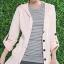 เสื้อคลุม มีฮู้ด สีชมพูอ่อน ตัวยาว แขนยาว พับแขนติดกระดุม thumbnail 1