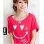 เสื้อยืดสีแดงอมชมพู สกรีนรอยยิ้ม Smile and Love สวยเท่ห์ thumbnail 2