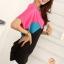 เสื้อแฟชั่น สีชมพูตัดต่อผ้าสีดำ ตัวยาวคลุมสะโพก เย็บย่นด้านข้าง thumbnail 3