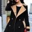 เสื้อโค้ท แฟชั่น สีดำแต่งกระดุม 2 แถว ตัวยาว Size L thumbnail 4