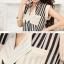 เสื้อชีฟอง ลายทาง คอจีน แขนล้ำ โทนดำ สำหรับสาวทำงาน thumbnail 5