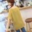 เสื้อทำงานทูโทน ลายฟันปลา สีเหลือง พร้อมเสื้อกล้ามด้านใน ผ้าชีฟอง thumbnail 3