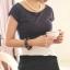 เสื้อแฟชั่น คอกลม สีม่วงตัดต่อสลับสีขาว-ดำ แขนล้ำ thumbnail 1