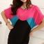 เสื้อแฟชั่น สีชมพูตัดต่อผ้าสีดำ ตัวยาวคลุมสะโพก เย็บย่นด้านข้าง thumbnail 1
