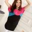 เสื้อแฟชั่น สีชมพูตัดต่อผ้าสีดำ ตัวยาวคลุมสะโพก เย็บย่นด้านข้าง thumbnail 4