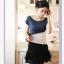 เสื้อยืด คอกลม สีน้ำเงินตัดต่อสลับสีขาว-ดำ แขนล้ำ thumbnail 2